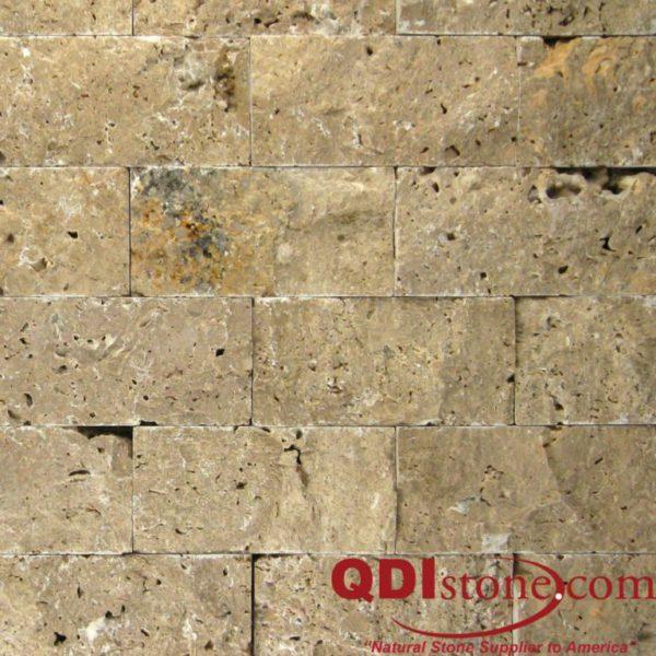 Noce Travertine Mosaic Tile 2x4 Split Face Beige Cream Tan Brown Gray White Indoor Floor Wall Backsplash Countertop Tub Shower Vanity QDI