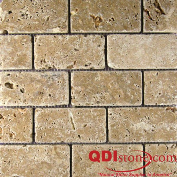 Noce Travertine Mosaic Tile 2x4 Tumbled Beige Cream Tan Brown Gray White Indoor Floor Wall Backsplash Countertop Tub Shower Vanity QDI