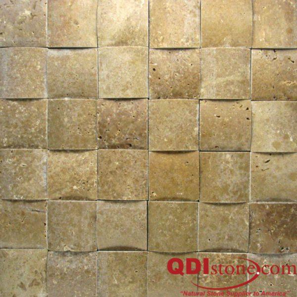 Noce Travertine Mosaic Tile 3D 2x2 Honed Beige Cream Tan Brown Gray White Indoor Floor Wall Backsplash Countertop Tub Shower Vanity QDI