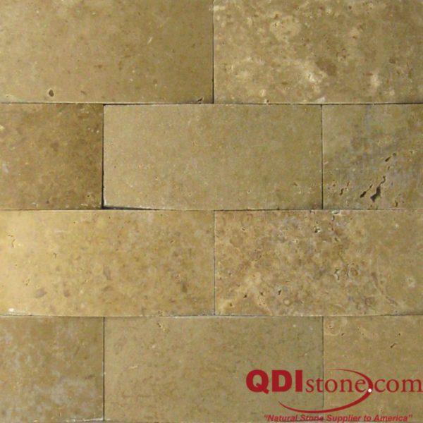 Noce Travertine Mosaic Tile 3D 2x4 Honed Beige Cream Tan Brown Gray White Indoor Floor Wall Backsplash Countertop Tub Shower Vanity QDI