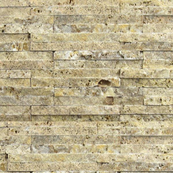 Noce Travertine Mosaic Tile 58x4 Split Face Beige Cream Tan Brown Gray White Indoor Floor Wall Backsplash Countertop Tub Shower Vanity QDI