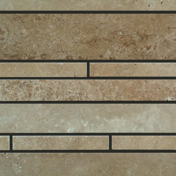 Noce Travertine Mosaic Tile Deco Strip Unfilled Honed 2 Beige Cream Tan Brown Gray White Indoor Floor Wall Backsplash Countertop Tub Shower