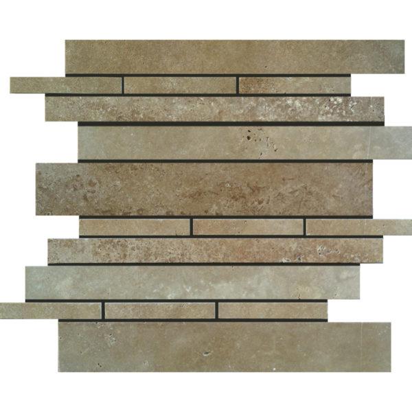 Noce Travertine Mosaic Tile Deco Strip Unfilled Honed Beige Cream Tan Brown Gray White Indoor Floor Wall Backsplash Countertop Tub Shower