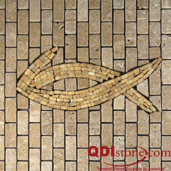 Noce Travertine Mosaic Tile Fish 03 12x12 Tumbled Honed Beige Cream Tan Brown Gray White Indoor Floor Wall Backsplash Countertop Tub Shower