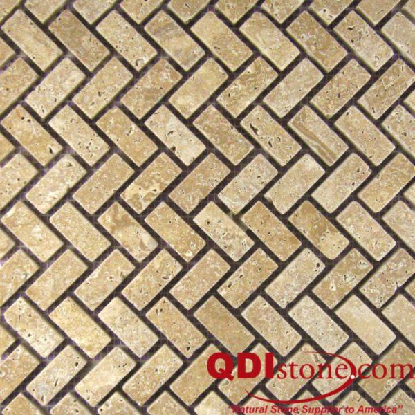 Noce Travertine Mosaic Tile Herringbone Tumbled Beige Cream Tan Brown Gray White Indoor Floor Wall Backsplash Countertop Tub Shower Vanity