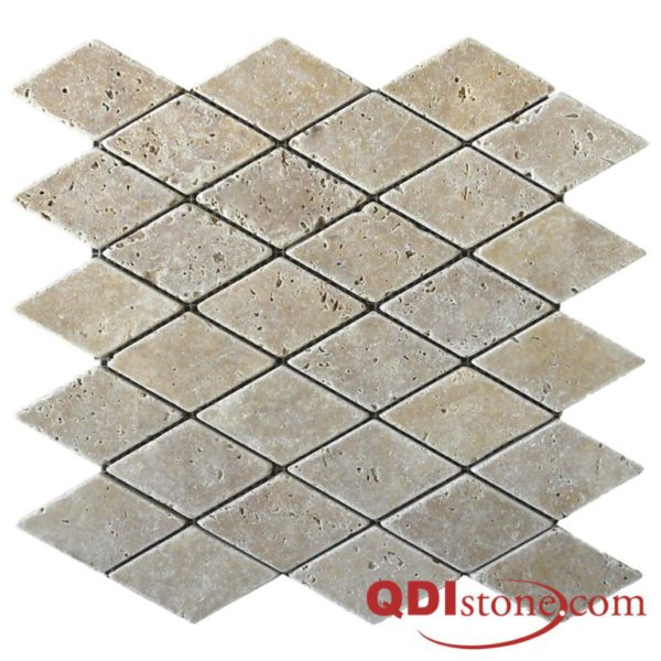 Noce Travertine Mosaic Tile Keramos Diamond 2 Tumbled Beige Cream Tan Brown Gray White Indoor Floor Wall Backsplash Countertop Tub Shower