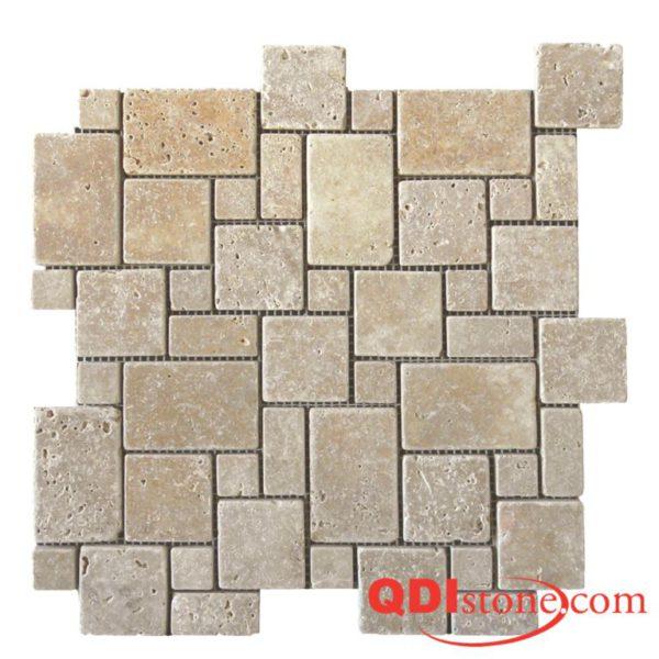Noce Travertine Mosaic Tile Micro Versailles Pattern Tumbled Beige Cream Tan Brown Gray White Indoor Floor Wall Backsplash Countertop Tub