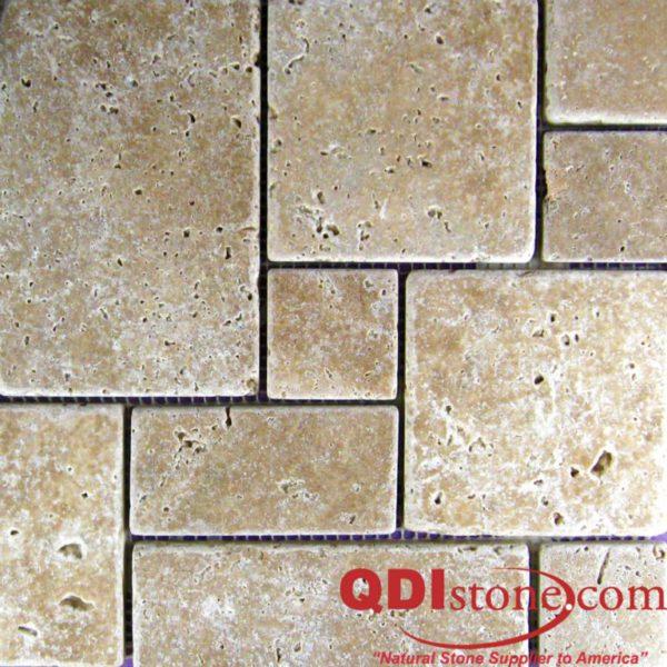 Noce Travertine Mosaic Tile Mini Versailles Pattern Tumbled Beige Cream Tan Brown Gray White Indoor Floor Wall Backsplash Countertop Tub