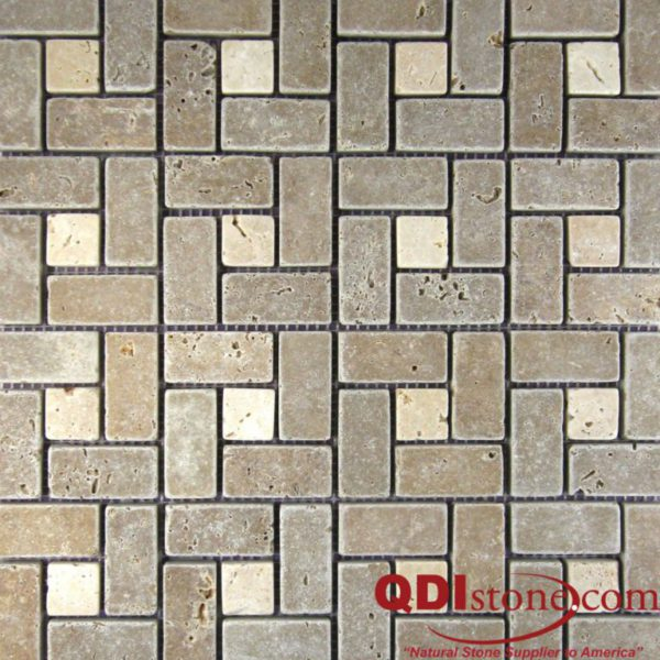 Noce Travertine Mosaic Tile Nysa Dot Pinwheel Tumbled Beige Cream Tan Brown Gray White Indoor Floor Wall Backsplash Countertop Tub Shower