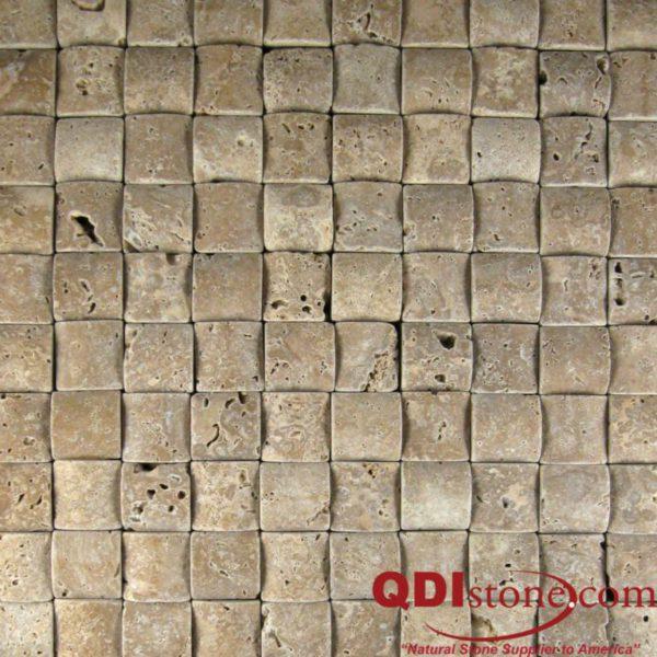 Noce Travertine Mosaic Tile Rush Mat Tumbled Beige Cream Tan Brown Gray White Indoor Floor Wall Backsplash Countertop Tub Shower Vanity QDI