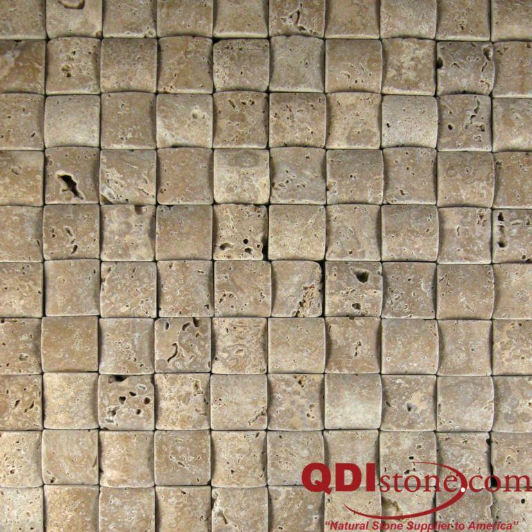 Tumbled Light Beige Stone Effect Travertine Wall Floor: NOCE Travertine Mosaic Tile