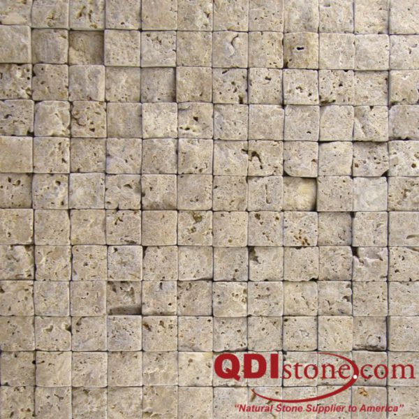 Noce Travertine Split Face Tile 1x1 Beige Cream Tan Brown Gray White Indoor Outdoor Wall Backsplash Tub Shower Vanity QDIsurfaces