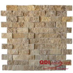 Noce Travertine Split Face Tile 1x2 Beige Cream Tan Brown Gray White Indoor Outdoor Wall Backsplash Tub Shower Vanity QDIsurfaces