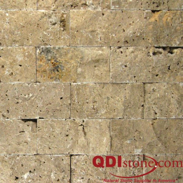 Noce Travertine Split Face Tile 2x4 Beige Cream Tan Brown Gray White Indoor Outdoor Wall Backsplash Tub Shower Vanity QDIsurfaces
