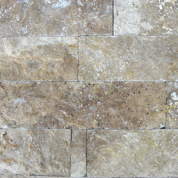 Noce Travertine Split Face Tile Beige Cream Tan Brown Gray White Indoor Outdoor Wall Backsplash Tub Shower Vanity QDIsurfaces