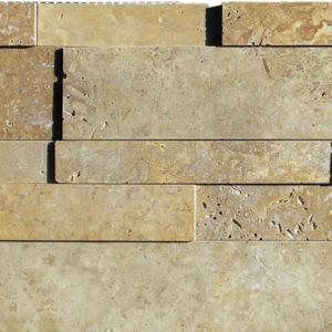 Noce Travertine Stack Stone Wall Cladding Panel Beige Cream Tan Brown Gray White Indoor Outdoor Wall Backsplash Tub Shower Vanity QDI