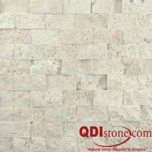 Nysa Travertine Mosaic Tile 1x2 Split Face Beige Cream Indoor Floor Wall Backsplash Countertop Tub Shower Vanity QDIsurfaces