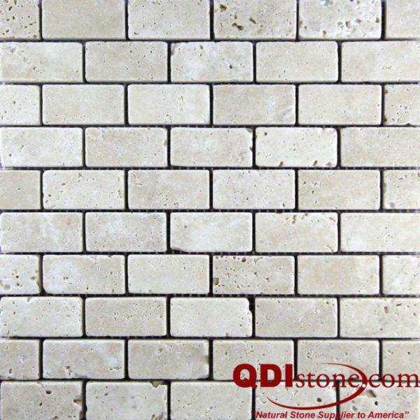 Nysa Travertine Mosaic Tile 1x2 Tumbled Beige Cream Indoor Floor Wall Backsplash Countertop Tub Shower Vanity QDIsurfaces