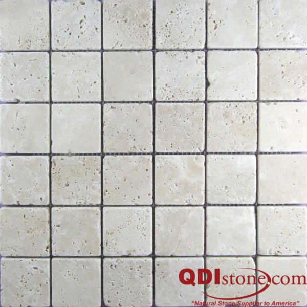 Nysa Travertine Mosaic Tile 2x2 Tumbled Beige Cream Indoor Floor Wall Backsplash Countertop Tub Shower Vanity QDIsurfaces