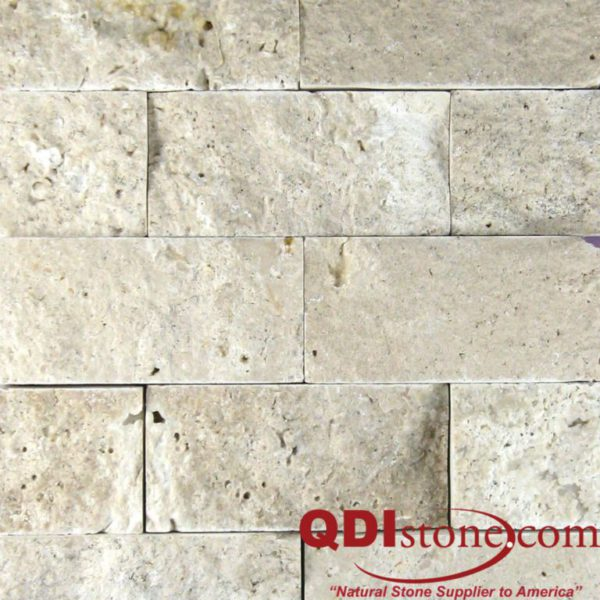 Nysa Travertine Mosaic Tile 2x4 Split Face Beige Cream Indoor Floor Wall Backsplash Countertop Tub Shower Vanity QDIsurfaces