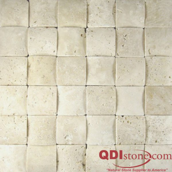 Nysa Travertine Mosaic Tile 3D 2x2 Honed Beige Cream Indoor Floor Wall Backsplash Countertop Tub Shower Vanity QDIsurfaces