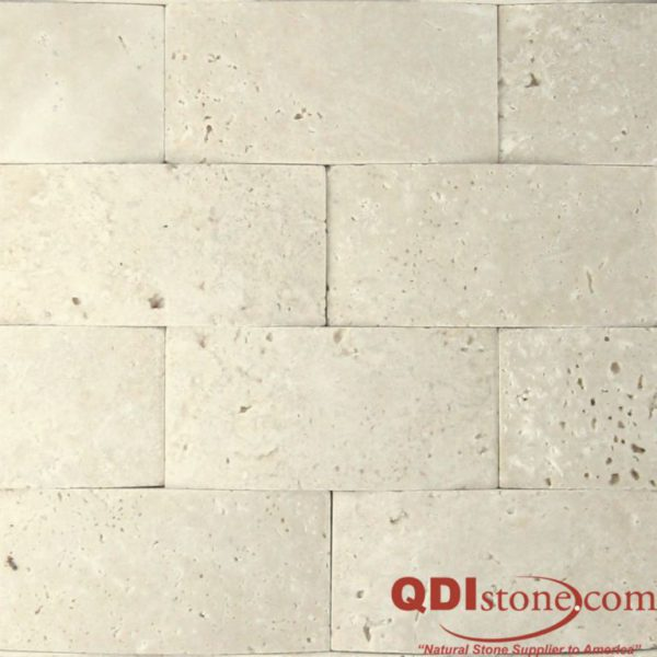 Nysa Travertine Mosaic Tile 3D 2x4 Honed Beige Cream Indoor Floor Wall Backsplash Countertop Tub Shower Vanity QDIsurfaces