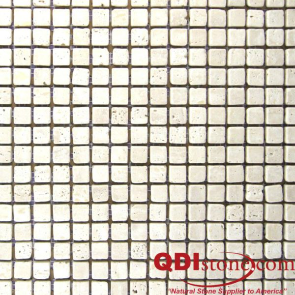 Nysa Travertine Mosaic Tile 58x58 Tumbled Beige Cream Indoor Floor Wall Backsplash Countertop Tub Shower Vanity QDIsurfaces