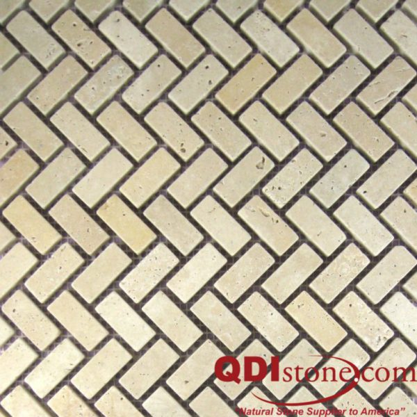 Nysa Travertine Mosaic Tile Herringbone Tumbled Beige Cream Indoor Floor Wall Backsplash Countertop Tub Shower QDI