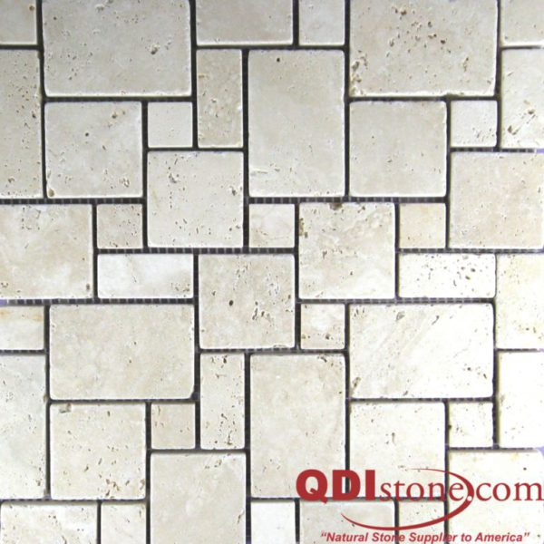 Nysa Travertine Mosaic Tile Micro Versailles Pattern Tumbled Beige Cream Indoor Floor Wall Backsplash Countertop Tub Shower QDI