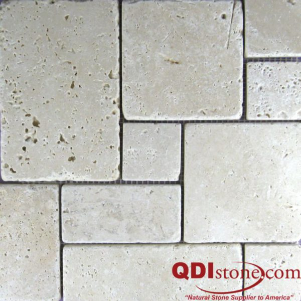 Nysa Travertine Mosaic Tile Mini Versailles Pattern Tumbled Beige Cream Indoor Floor Wall Backsplash Countertop Tub Shower QDI