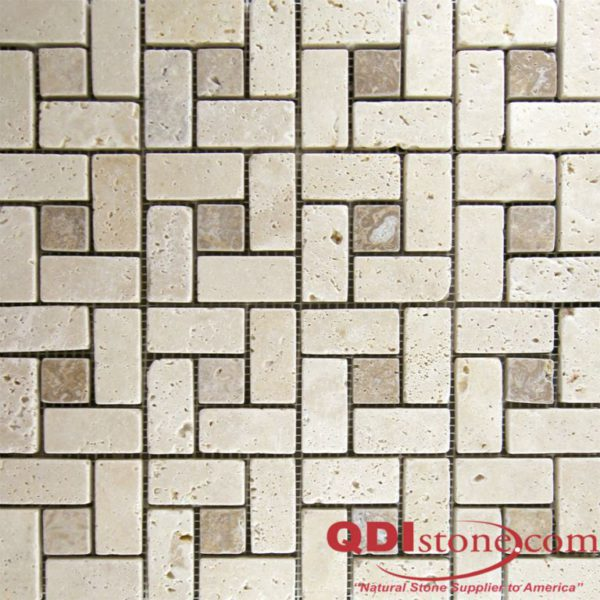 Nysa Travertine Mosaic Tile Noce Dot Pinwheel Tumbled Beige Cream Indoor Floor Wall Backsplash Countertop Tub Shower