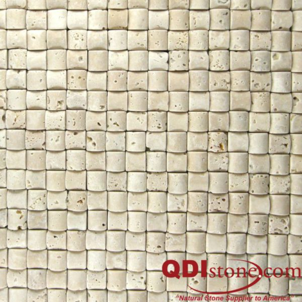 Nysa Travertine Mosaic Tile Rush Mat Tumbled Beige Cream Indoor Floor Wall Backsplash Countertop Tub Shower QDI