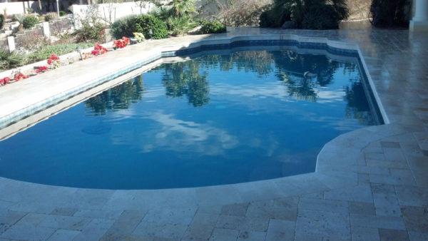 Nysa Travertine Paver 3pc Roman Pattern Tumbled 2 Tan Brown Beige Cream Outdoor Floor Wall Pool Patio Backyard Tub Shower Vanity QDIsurfaces
