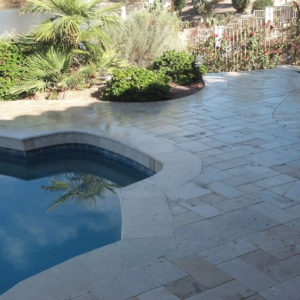 Nysa Travertine Paver 3pc Roman Pattern Tumbled 3 Tan Brown Beige Cream Outdoor Floor Wall Pool Patio Backyard Tub Shower Vanity QDIsurfaces
