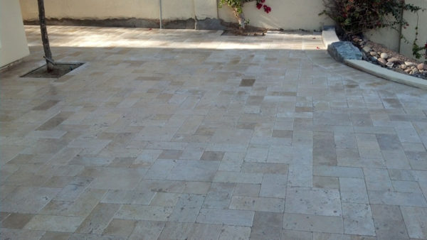 Nysa Travertine Paver 3pc Roman Pattern Tumbled 5 Tan Brown Beige Cream Outdoor Floor Wall Pool Patio Backyard Tub Shower Vanity QDIsurfaces