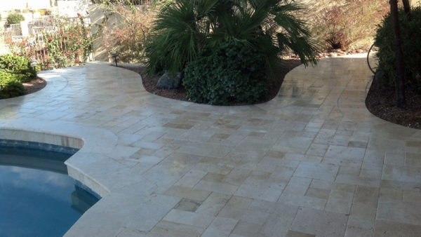 Nysa Travertine Paver 3pc Roman Pattern Tumbled 6 Tan Brown Beige Cream Outdoor Floor Wall Pool Patio Backyard Tub Shower Vanity QDIsurfaces