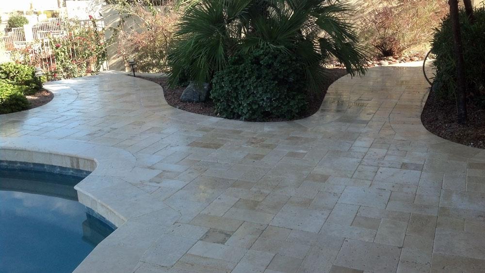 Nysa Travertine Paver 3pc Roman Pattern Tumbled 6 Tan Brown Beige Cream  Outdoor Floor Wall Pool
