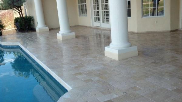 Nysa Travertine Paver 3pc Roman Pattern Tumbled Tan Brown Beige Cream Outdoor Floor Wall Pool Patio Backyard Tub Shower Vanity QDIsurfaces