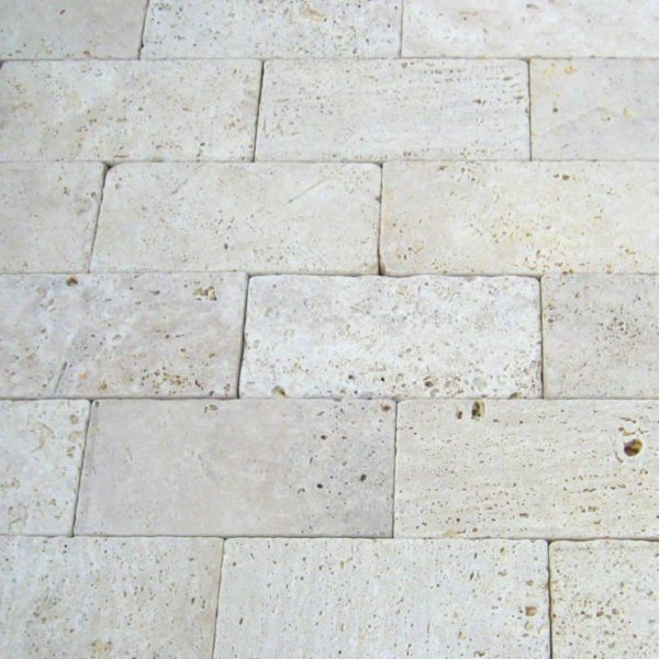 Nysa Travertine Paver 6x12 Tumbled Tan Brown Beige Cream Outdoor Floor Wall Pool Patio Backyard Tub Shower Vanity QDIsurfaces