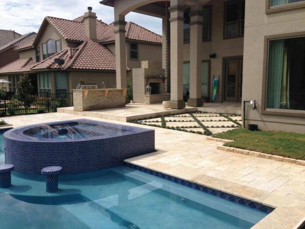 Nysa Travertine Paver Versailles Pattern Tumbled 2 Tan Brown Beige Cream Outdoor Floor Wall Pool Patio Backyard Tub Shower Vanity QDIsurfaces