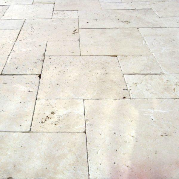 Nysa Travertine Paver Versailles Pattern Tumbled Tan Brown Beige Cream Outdoor Floor Wall Pool Patio Backyard Tub Shower Vanity QDIsurfaces