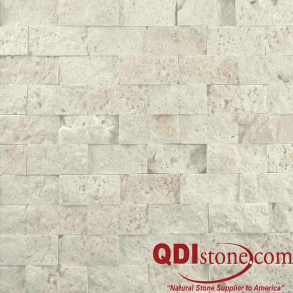 Nysa Travertine Split Face Tile 1x2 Split Face Beige Cream Indoor Outdoor Wall Backsplash Tub Shower Vanity QDIsurfaces
