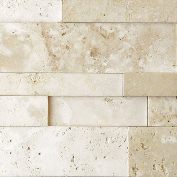Nysa Travertine Stack Stone Wall Cladding Panel Z Pattern 2 Honed Beige Cream Indoor Outdoor Wall Backsplash Tub Shower Vanity QDIsurfaces