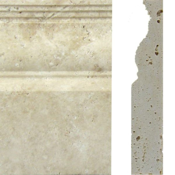 Nysa Travertine Trim Tile 4x12 Baseboard Tile Honed Beige Cream Indoor Wall Backsplash Tub Shower Vanity QDIsurfaces