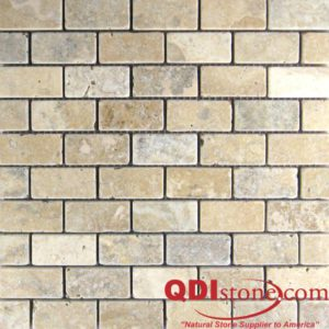 Philadelphia Travertine Mosaic Tile 1x2 Tumbled Beige Cream Tan Brown Gray White Indoor Floor Wall Backsplash Countertop Tub Shower