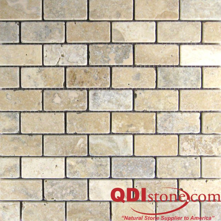 Philadelphia Travertine Mosaic Tile 1x2 Tumbled Beige Cream Tan Brown Gray White Indoor Floor Wall Backsplash Countertop Tub Shower