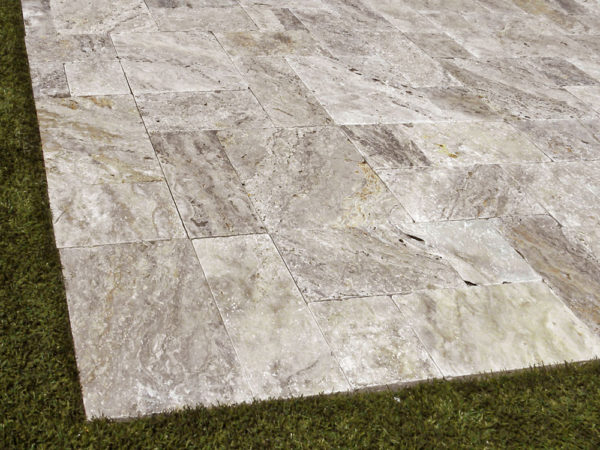 Philadelphia Travertine Paver 3pc Roman Pattern Tumbled 2 Tan Brown Gray White Outdoor Floor Wall Pool Patio Backyard Tub Shower Vanity QD