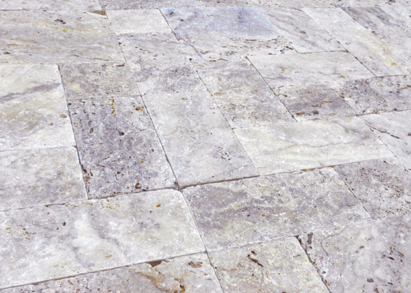 Philadelphia Travertine Paver 3pc Roman Pattern Tumbled Tan Brown Gray White Outdoor Floor Wall Pool Patio Backyard Tub Shower Vanity QDI