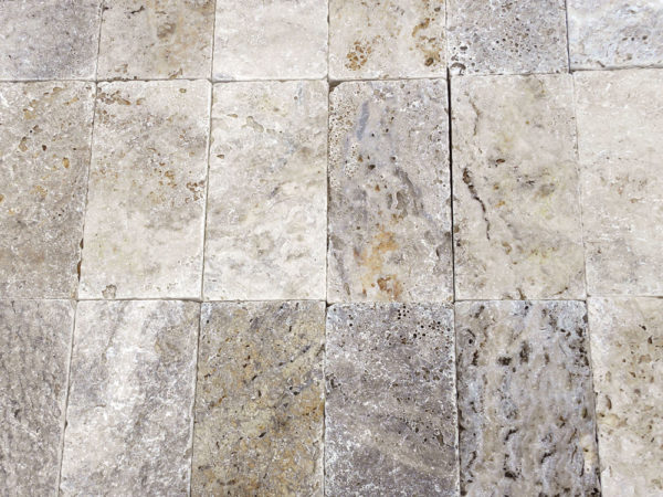 Philadelphia Travertine Paver 6x12 3cm Tumbled Tan Brown Gray White Outdoor Floor Wall Pool Patio Backyard Tub Shower Vanity QDIsurfaces