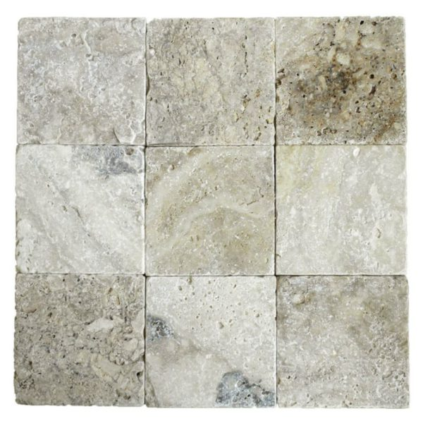 Philadelphia Travertine Paver 6x6 Tumbled Tan Brown Gray White Outdoor Floor Wall Pool Patio Backyard Tub Shower Vanity QDIsurfaces